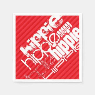 ヒッピー; 深紅の赤のストライプ スタンダードカクテルナプキン