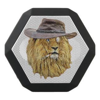ヒップスターのおもしろいなライオン猫 ブラックBluetoothスピーカー