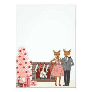 ヒップスターのキツネのカップルの家庭で休日の招待 12.7 X 17.8 インビテーションカード