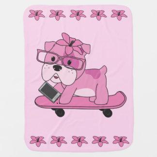 ヒップスターのピンクのブルドッグ ベビー ブランケット