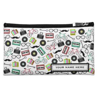ヒップスターのプリントの名前入りな化粧品のバッグ コスメティックバッグ