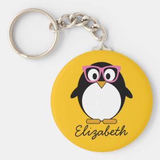ヒップスターのペンギン-かわいい漫画の黄色のピンク キーホルダー