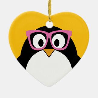 ヒップスターのペンギン-かわいい漫画の黄色のピンク セラミックオーナメント