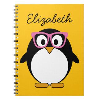 ヒップスターのペンギン-かわいい漫画の黄色のピンク ノートブック