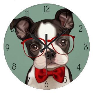 ヒップスターのボクサーの子犬 ラージ壁時計