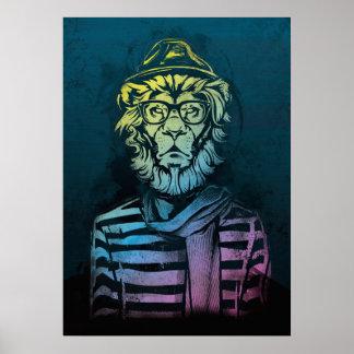 ヒップスターのライオンの勾配 ポスター