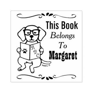 ヒップスターのラブラドールの子犬の本のラベルのスタンプ ラバースタンプ