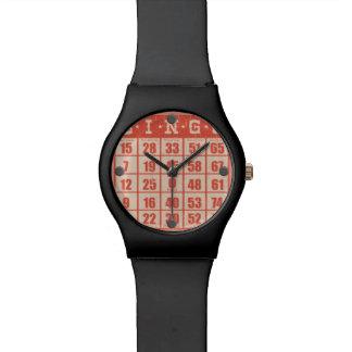 ヒップスターのヴィンテージの赤いビンゴのトランプゲームのボードゲーム 腕時計