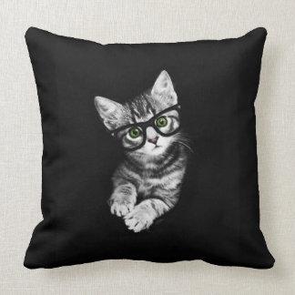ヒップスターの子ネコ及びガラスの猫好きの装飾用クッション クッション