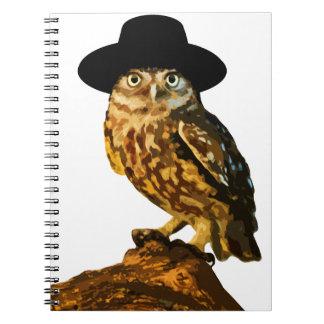 ヒップスターの賢いフクロウのステッカー ノートブック