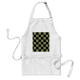 ヒップスターの軍隊の緑のチェッカーボードのチェス盤 スタンダードエプロン
