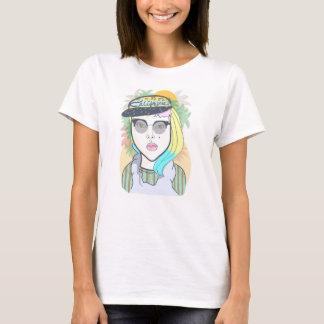 ヒップスターカリフォルニア女の子 Tシャツ
