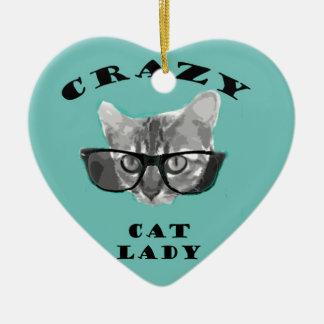 ヒップスターガラスを持つFunny Slogan熱狂するな猫の女性 セラミックオーナメント