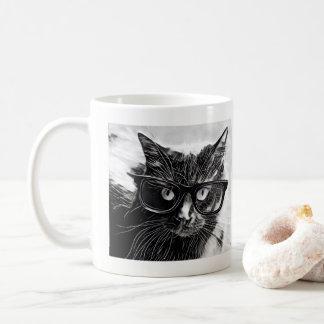 ヒップスター猫!  特大黒いガラスを持つ黒猫 コーヒーマグカップ