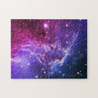 ヒップスター紫色のグラデーションな猿の頭部の星雲 ジグソーパズル