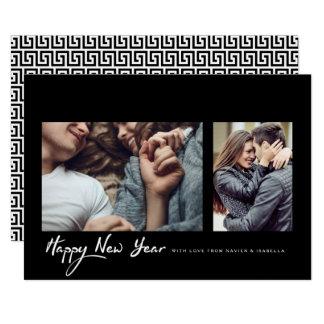 ヒップスター黒いフレームの新年の写真 カード
