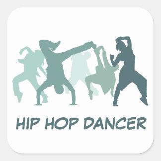 ヒップホップのダンサーの絵 スクエアシール