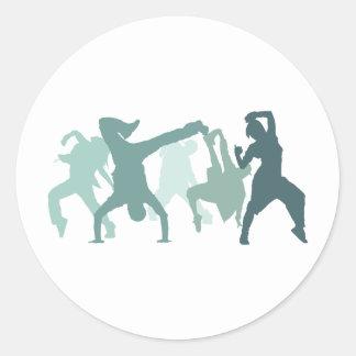 ヒップホップのダンサーの絵 ラウンドシール