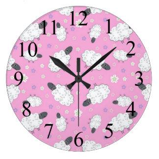 ヒツジのピンクの柱時計のカウント ラージ壁時計