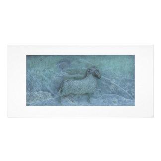 ヒツジのレリーフ、浮き彫り カード