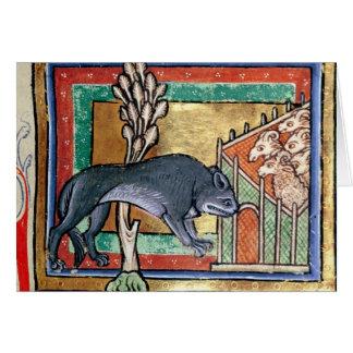 ヒツジの外のMSローイAのオオカミは折ります カード