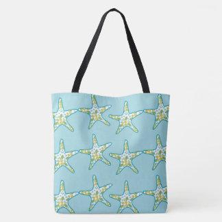 ヒトデおよび花柄パターン水の夏のビーチ トートバッグ