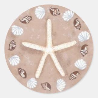 ヒトデおよび貝の五芒星 ラウンドシール