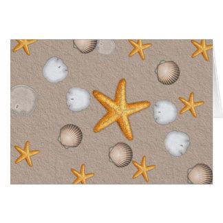 ヒトデおよび貝殻のビーチのテーマのギフト ノートカード