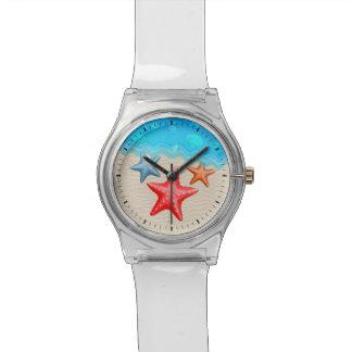 ヒトデおよび貝殻 腕時計