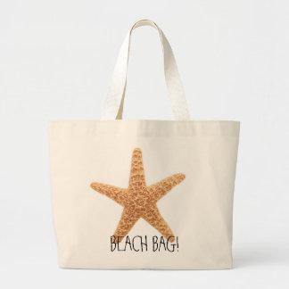 ヒトデのおもしろいのビーチのバッグ! ラージトートバッグ