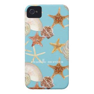 ヒトデのオウムガイの帆立貝の海の貝のモダンパターン Case-Mate iPhone 4 ケース