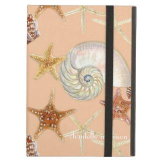ヒトデのオウムガイの帆立貝の海の貝のモダンパターン iPad AIRケース