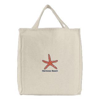 ヒトデのオレンジ名前入りなビーチ 刺繍入りトートバッグ