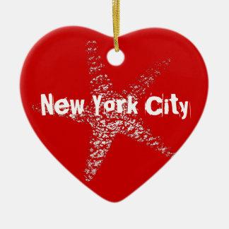 ヒトデのハートのオーナメントNYCまたは(あなたの町を特色にして下さい) セラミックオーナメント