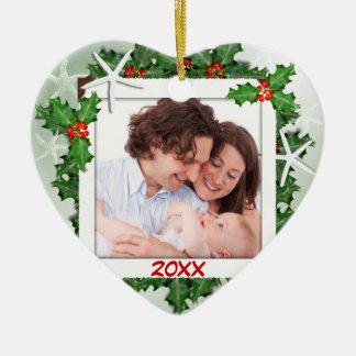 ヒトデのハートの家族写真のクリスマスのオーナメント 陶器製ハート型オーナメント