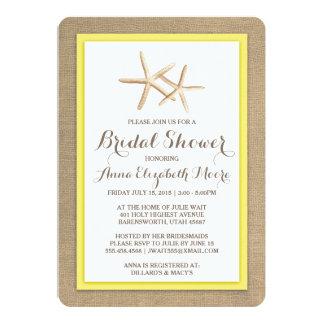 ヒトデのバーラップのビーチのブライダルシャワーの招待状 12.7 X 17.8 インビテーションカード