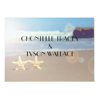 ヒトデのビーチ結婚式の招待 カード