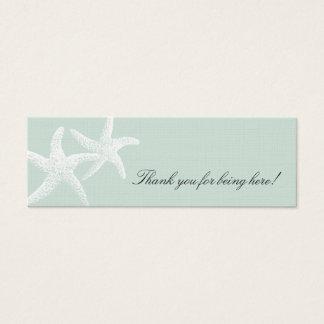 ヒトデの情熱の淡いブルーの細いメッセージカード スキニー名刺