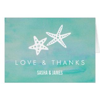ヒトデの水の結婚式のサンキューカード カード