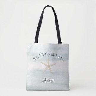 ヒトデの水彩画のビーチの新婦付添人 トートバッグ