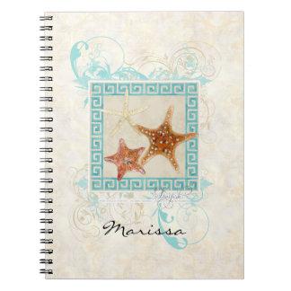 ヒトデの海の貝の海のギリシャの主パターンビーチ ノートブック