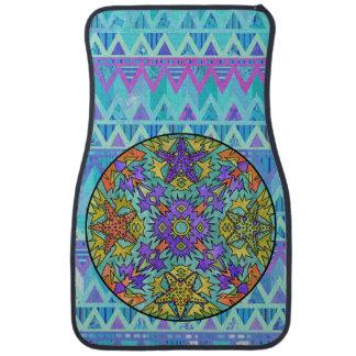 ヒトデの虹の淡い色のでアステカな曼荼羅明るいシェブロン カーマット