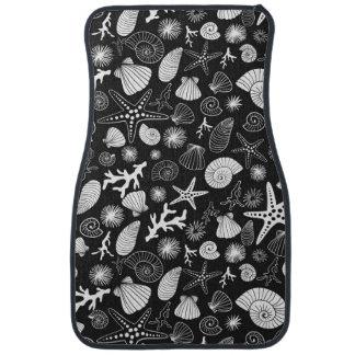 ヒトデの貝殻およびシーライフの黒 カーマット
