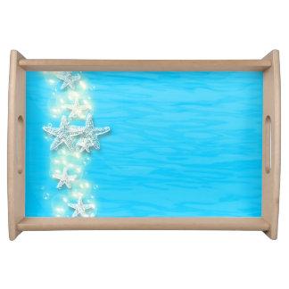 ヒトデの青く白いビーチ トレー