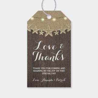 ヒトデ素朴なライトビーチ結婚式は感謝していしています ギフトタグ