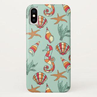 ヒトデ、タツノオトシゴ、貝殻、海藻デザインの場合 iPhone X ケース