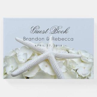 ヒトデnのアジサイの淡いブルーの結婚式の来客名簿 ゲストブック