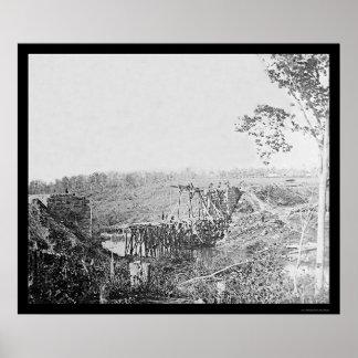 ヒマラヤスギの操業上の鉄道橋の再建、VA 1863年 ポスター