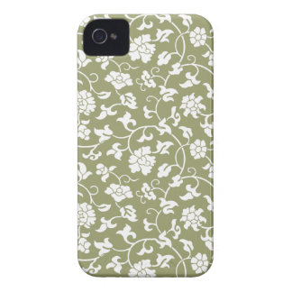 ヒマラヤスギの緑の花のダマスク織のiPhone 4/4Sの箱 Case-Mate iPhone 4 ケース