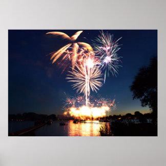 ヒマラヤスギのisland湖2016年上の花火 ポスター